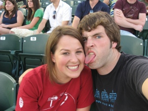 me and the mr. at a baseball game.