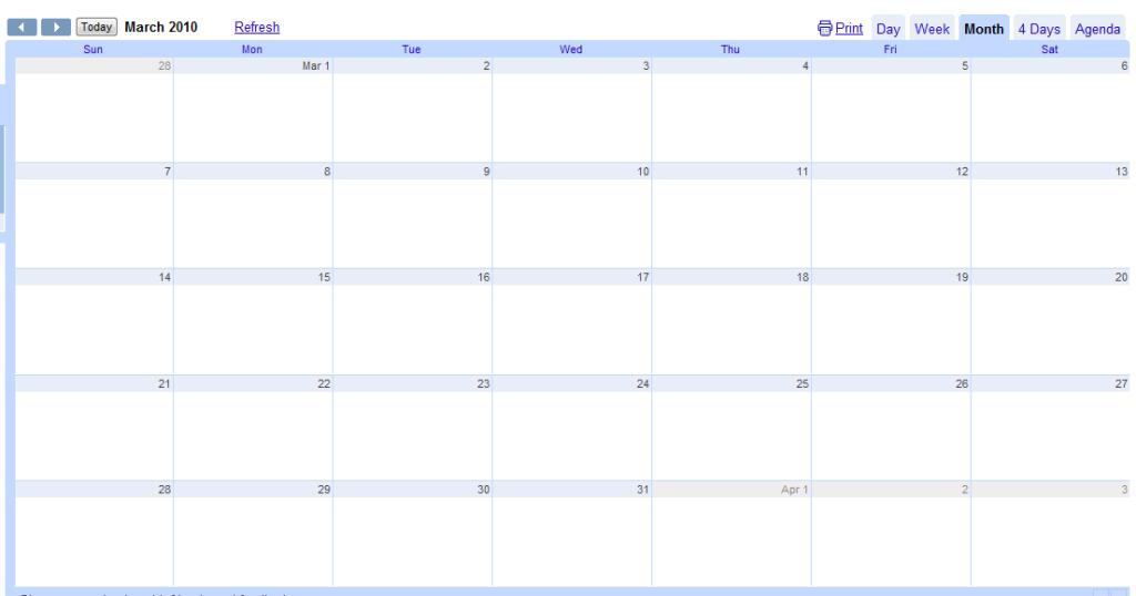 Blank Google Calendar : Blank calendar big spaces autos post